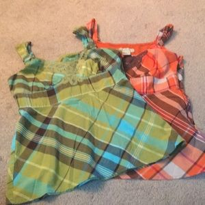 Requirements green plaid and orange plaid tops
